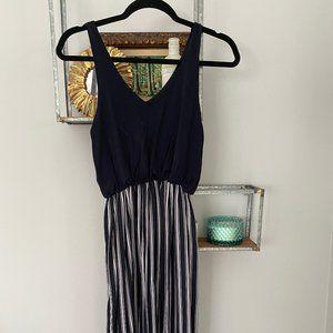 Petite Navy Midi Dress with Striped Skirt